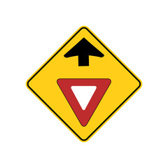 USA traffic road signs. yield sign ahead. vector illustration