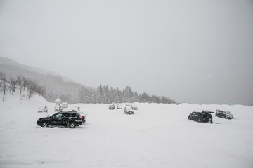 スキー場の駐車場