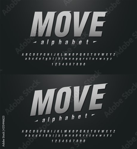 sport modern alphabet and number fonts  technology typography italic
