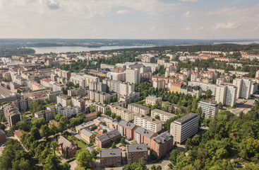Aerial view of Jyvaskyla, town in central Finland