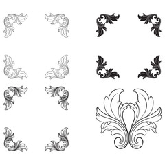 Baroque vector set of vintage elements