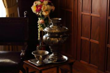 old samovar, vintage teapot, darkening