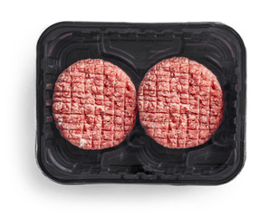burger meat in plastic package