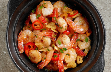 bowl of garlic prawns
