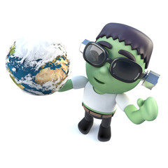 3d Funny cartoon frankenstein monster holding a globe of the Earth