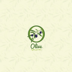 Vector branch with olives logo.