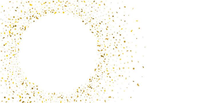 Golden glitter confetti on a white background.