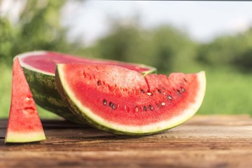 Half of sliced watermelon on white background