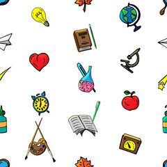 Vector seamless pattern retro drawing of different school objects. Theme back to school. Can be used for the background of a web page, fills drawings, wallpapers, surface textures.