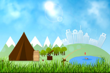 Background for summer camp, nature tourism, camping design concept. Vector