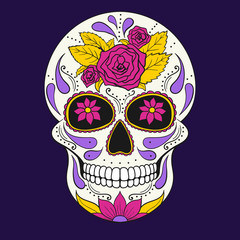 Day of The Dead Skull with floral ornament. Mexican sugar skull. Vector illustration