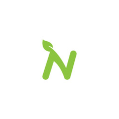 Nature with letter N logo design template