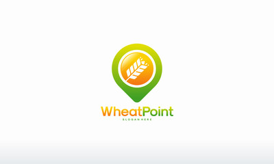 Wheat Grain Point logo designs concept vector, Agriculture wheat logo