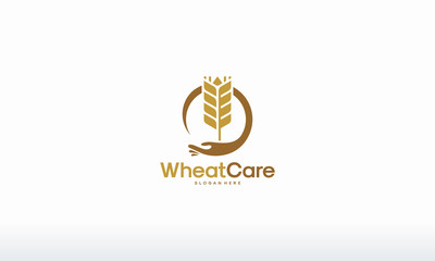 Wheat Care logo designs concept vector, Agriculture Grain logo designs