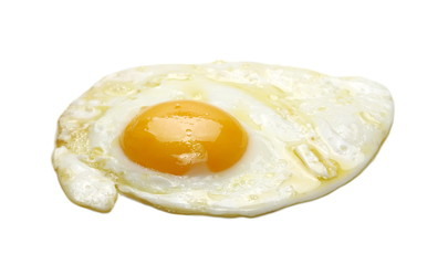 Fried egg isolated on white, clipping path