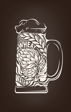 Hand drawn vintage graphic with beer mug and lettering. Vector typography illustration for t-shirt or bag print, badges and logo design.