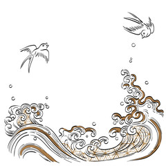 Wave hand drawn vector. Japanese template background. Brush strokes ocean and birds in Japaneses style.