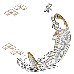 Japanese template vector. Gold hand drawn card fish background. Japanese pattern.