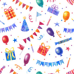 Watercolor seamless birthday pattern with balloons, gifts, garlands, hats and confetti