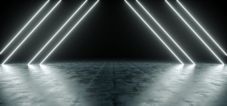 Futuristic Sci Fi Triangle White Neon Tube Lights Glowing In Concrete Floor Room With Refelctions Empty Space 3D Rendering
