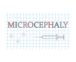 Microcephaly word on checkered paper sheet- vector illustration