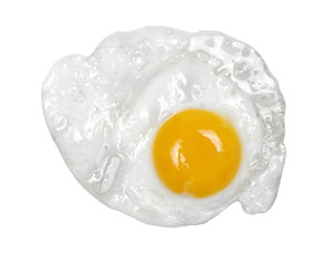Fond de hotte en verre imprimé Ouf Fried egg isolated on white, top view, clipping path