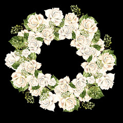 Beautiful Watercolor Wreath with white roses.
