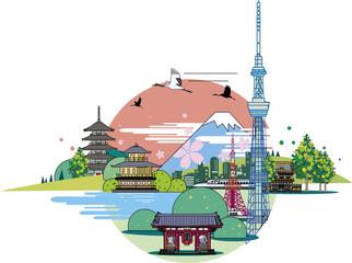 日本観光のシンボルと背景