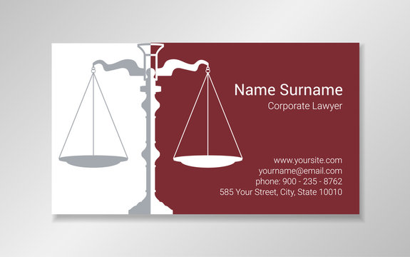 Business card design template in burgundy and gray colors with scales silhouette.