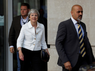 Britain's Prime Minister, Theresa May, leaves the BBC after appearing on the Andrew Marr Show, in central London