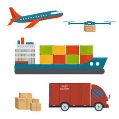 Logistics and delivery service set: truck with packages, helicopter, scooter, plane, cargo shipping, van