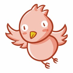 Cute and funny pink bird flying and smiling - vector.