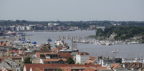 Aerial view of Rostock city