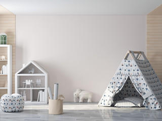 Mockup wall in child interior 3d rendering