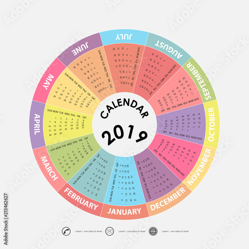 2019 Calendar Template Circle Calendar Template Calendar 2019 Set Of