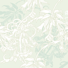 Seamless pattern with flowers orchids