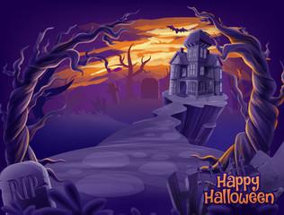 horror scene illustration for halloween