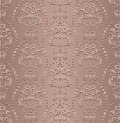 vintage style wallpaper damask art nouveau ornaments floral design elements seamless texture colored background illustration