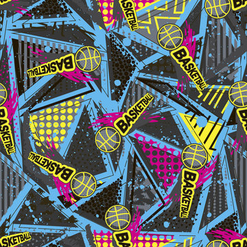Abstract seamless vector pattern for girls, boys, clothes. Creative Basketball background with dots, geometric figures Funny wallpaper for textile and fabric. Fashion style. Colorful bright