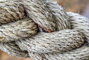 Old white rope closeup