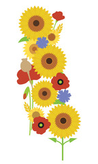 Bouquet of sunflower blossoms, poppy and poppyhead, with grain of wheat