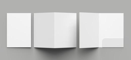 A4 size single pocket reinforced folder mock up isolated on gray background. 3D illustration. - fototapety na wymiar