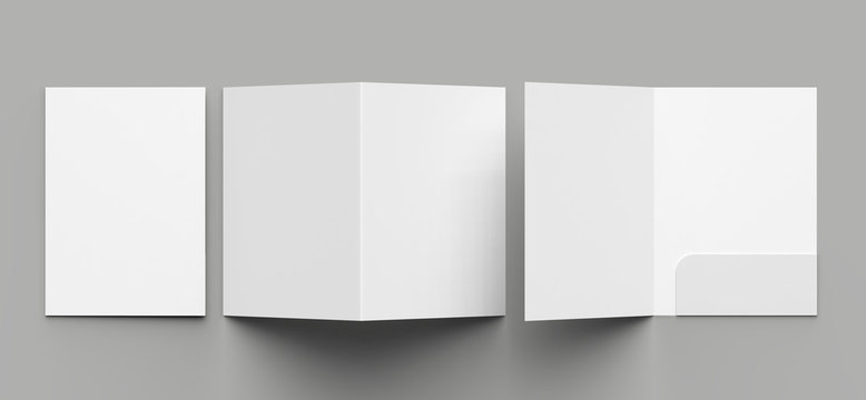 A4 size single pocket reinforced folder mock up isolated on gray background. 3D illustration.