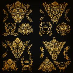 Set of gold damask ornaments. Floral elements, corners, ornate borders, filigree crowns, arabesque for design. Page, web royal decoration on background in vintage style. Vector illustration EPS 10