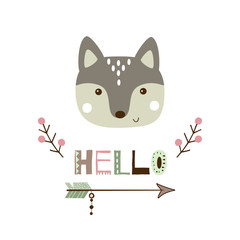 Cute wolf vector illustration. Card with baby animal portrait