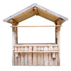 Wooden market stand stall made of raw wooden beams isolated on white