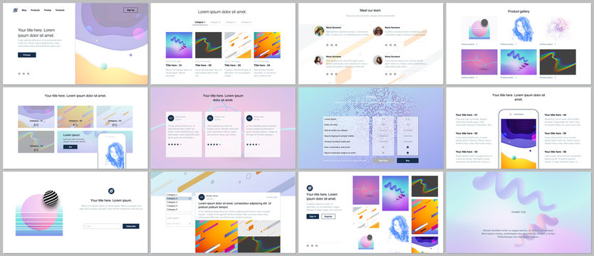 Vector templates for website design, minimal presentations, portfolio with geometric colorful patterns, gradients, fluid shapes. UI, UX, GUI. Design of headers, dashboard, features page, blog etc.