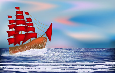 Sunrise wallpaper with sacrlet sailing vessel , vector illustration