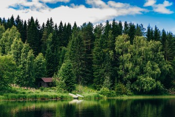Summer cottage or log cabin by the blue lake in rural Finland.