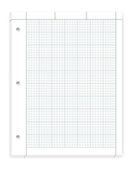 Hole punched quad ruled filler paper for three ring binder